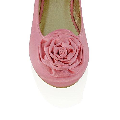 ESSEX GLAM Women's Flat Slip On Pumps Flower Detail Satin Bridal Bridesmaid Wedding Ballerina Pumps Rose Satin JUq1DeQ21