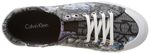Calvin Klein Giselle Ck Logo Flower Print, Zapatillas para Mujer Negro (Blk)