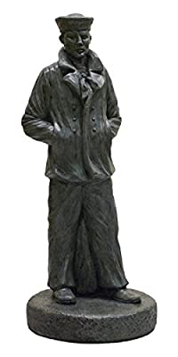 "Solid Rock Stoneworks Patriotic Sailor Decorative Stone Statue 24"" Tall Indigo Color"