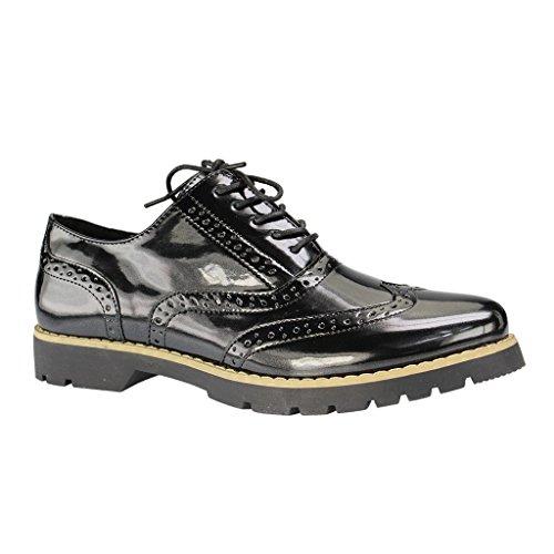 Fitters Footwear - Zapatos de cordones de Material Sintético para mujer Negro negro