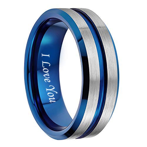8mm Tungsten Ring for Men Blue Thin Groove Line Dome Brushed Engraved I Love You Comfort Fit Wedding Band Size 7