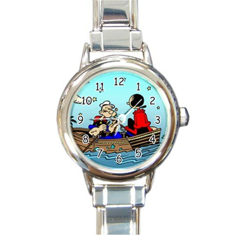 Popeye and Olive Oyl Rowing Boat Round Italian Charm Watch - Popeye Costume Images