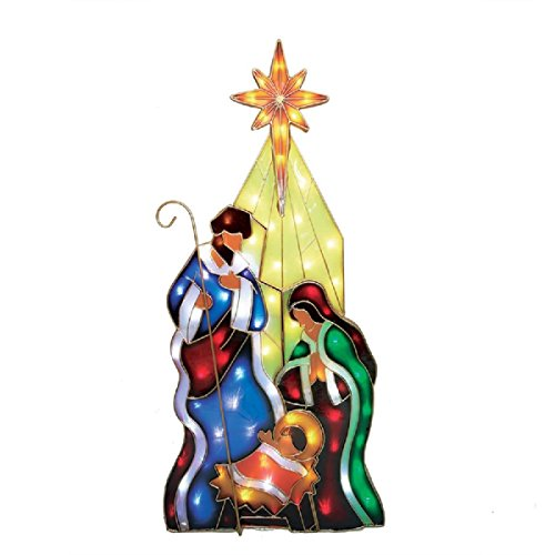 5 ft Pre-Lit Nativity Holy Family Sculpture with Constant Multicolor LED Lights Indoor Outdoor by Holiday