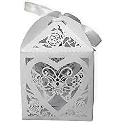 KAZIPA Laser Cut Wedding Favor Boxes 4'' x 4'' x 4'', 12PCS Treat Boxes, Take Out Gift Boxes, Wedding Party Cake Boxes for Regular Cupcake, Cookies, Pastries, Candy Apple and Small Gifts, White