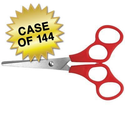 Westcott 500-13301 School Stainless Steel Kids Training Scissors, 5-Inch, Blunt Red, Case of 144 by Westcott (Image #1)