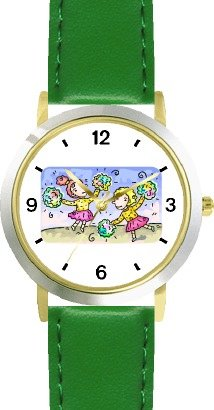cheerleaders-or-cheer-leaders-with-pompoms-cheerleader-theme-watchbuddy-deluxe-two-tone-theme-watch-
