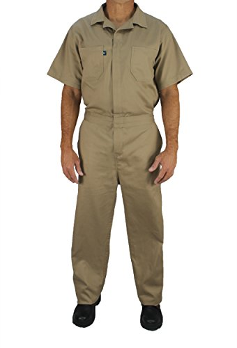 - Kolossus Deluxe Short Sleeve 100% Cotton Coverall with Multi Pockets and Antistatic Zipper (Khaki, Medium)