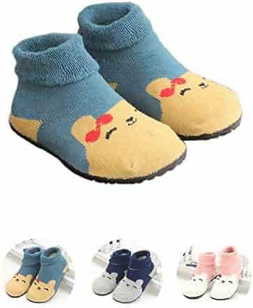 c3a6d5101 Kids Slippers Socks Floor Socks Shoes for Boys Girls Baby Rubber Bottom  Soles Non Skid Non