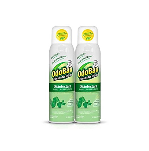 OdoBan Disinfectant Fabric and Air Freshener Spray, Eucalyptus Scent (14 Ounces, 2 Pack)