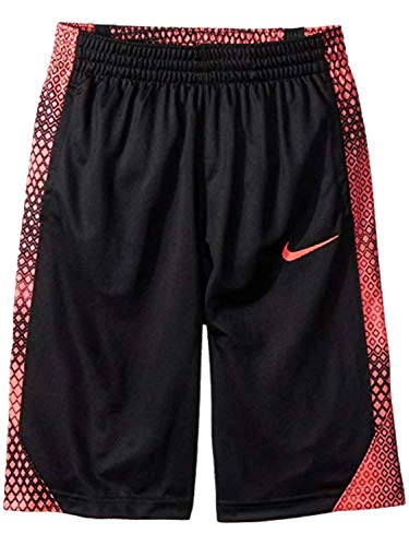 Nike Boys' Dry Elite Stripe Basketball Shorts (Black Hot Punch(892390-010)/Black, Small)