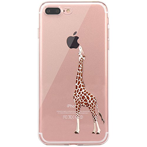 iPhone 7 Plus Case, iPhone 8 Plus Case, JAHOLAN Amusing Whimsical Design Clear TPU Soft Case Rubber Silicone Skin Cover for Apple iPhone 7 Plus / iPhone 8 Plus – Eating Giraffe