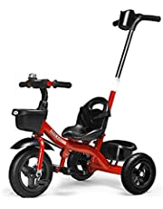 COOL-Series Kids Trike Toddlers Children Tricycle Stroller Trike 3 Wheel Pedal Bike 4-in-1 Parent Push for 1 2 3 4 5 6 Years Old Boys Girls Indoor & Outdoor with Storage Bin and Folding Pedals