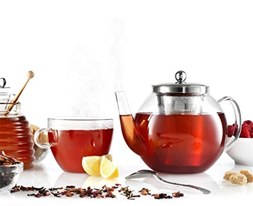 Francois Et Mimi Borosilicate Glass Tea Pot With Tea Infuser  Micro Mesh Filter  40Oz