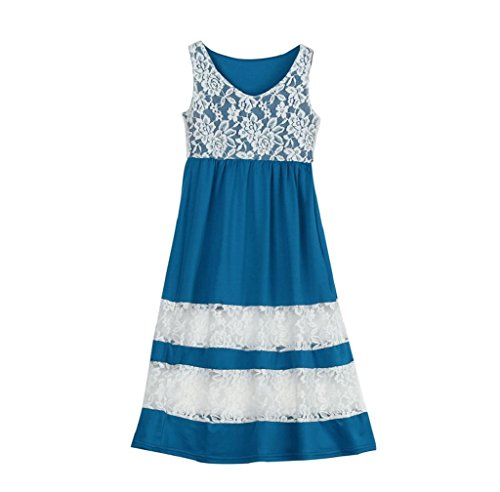 Anboo Family Clothes, Mommy And Me Lace Stripe Sundress Party Vacation Matching Dresses Outfit supplier