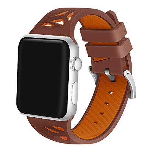 (iGK Compatible with Apple Watch Bands 42mm 44mm,Soft Silicone Replacement Wristband Compatible for iWatch Apple Watch Series 1/2/3/4 42mm/44mm Brown/Orange)