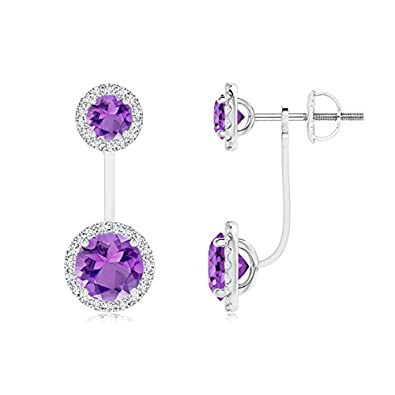 Angara Round Amethyst Front-Back Drop Earrings with Diamond Halo