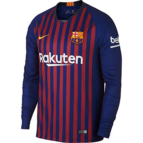 NIKE 2018-2019 Barcelona Home Long Sleeve Jersey (Deep Royal Blue) (S) (Authentic Jersey Home)