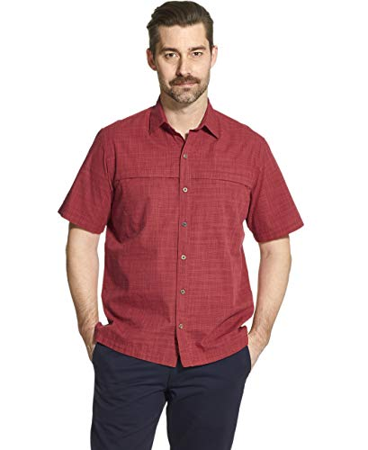 - Arrow 1851 Men's Big and Tall Crosshatch Short Sleeve Button Down Solid Shirt, Biking red, 3X-Large