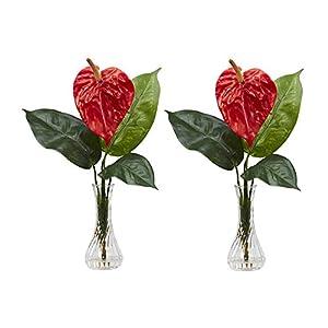 Nearly Natural Home Garden Décor Anthurium w/Bud Vase Silk Flower Arrangement (Set of 2) Red 117