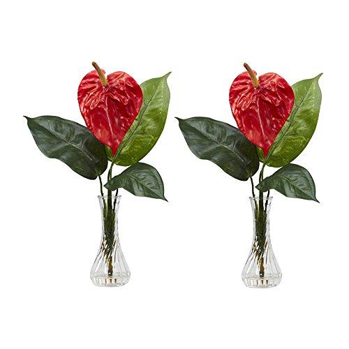 Nearly Natural Home Garden Décor Anthurium w/Bud Vase Silk Flower Arrangement (Set of 2) Red