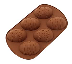 CHICHIC Silicone Baking Mold Cake Pan Muffin Cups Soap Mold, Large, Brown