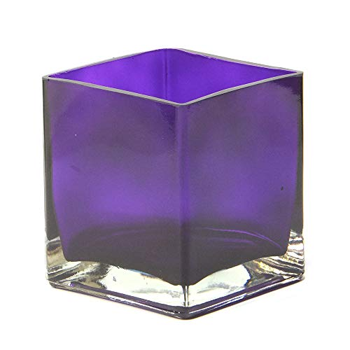 """Concord Global Trading Cube Purple Glass Vase - Contemporary Opaque Cube 4"""" X 4"""" X 5"""" Vases 4x4x5-inch from Concord Global Trading"""