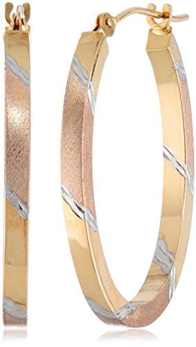 14k-gold-tri-color-diamond-cut-oval-hoop-earrings