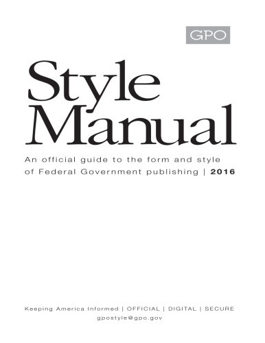United States Government Publishing Office Style Manual 2016