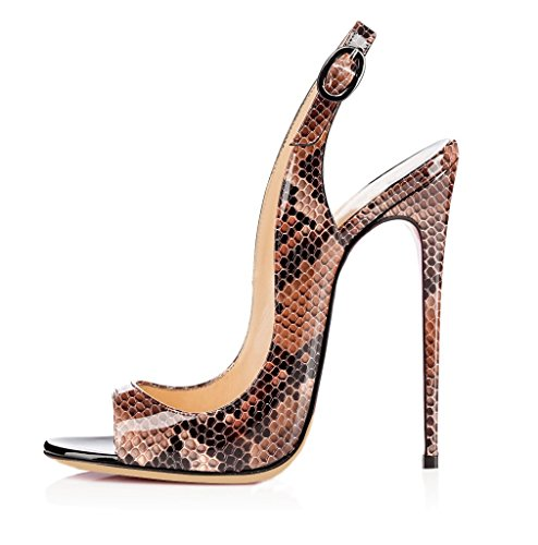 EDEFS Femmes Artisan Fashion Sandales Noir Décolletés B00IP0QEL6 Bout Ouverts Chaussures 120mm à Talon Haut de 120mm Noir Python-marron 1ce3183 - automaticcouplings.space