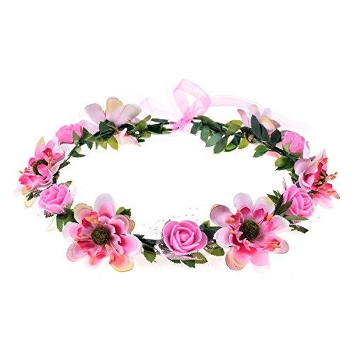 June Bloomy Rose Flower Leave Crown Bridal Halo Headband with Adjustable Ribbon (Pink)