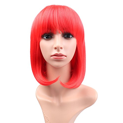 Fani Wigs Short Bob Wig For Women With Free Wig Cap Yaki Straight Synthetic Wigs Flat Bangs Wig Red Color Cospaly (Red Wig With Bangs)