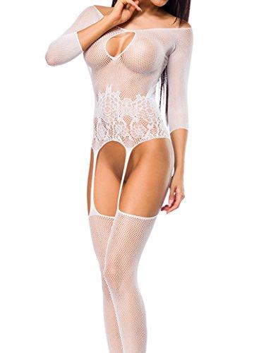 ILAVO® Reizender Bodystocking aus Netz im trendigen weiß - Damen Dessous - Einheitsgröße