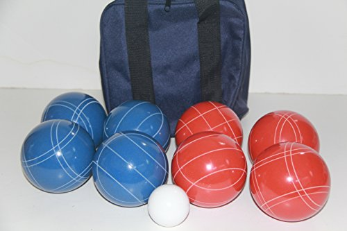 Premium Quality and American Made, 110mm EPCO Bocce Set - Rustic Blue/Orange balls and blue/black bag by BuyBocceBalls