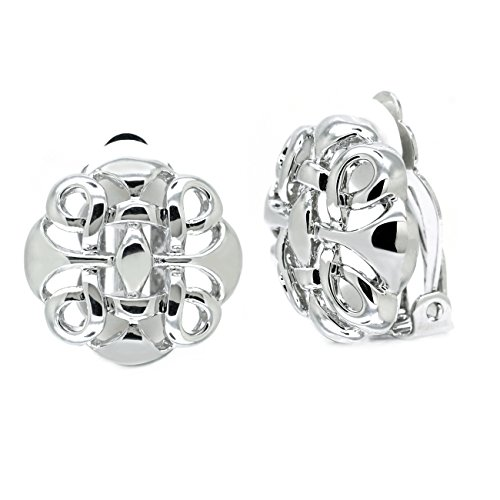 (Clip On Earrings Celtic Knot Vintage Round Rhodium Plated Women Fashion)