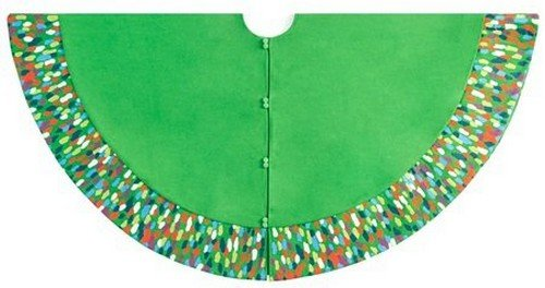 Arcadia Home TW6G Contemporary Design Colorful Confetti Pattern Tree Skirt, Green
