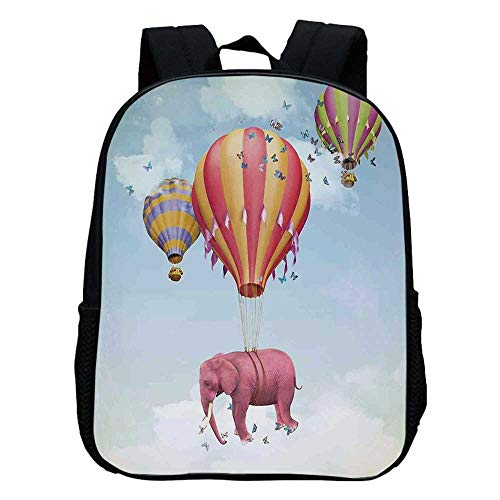(Elephants Decor Durable Kindergarten Shoulder Bag,Pink Elephant in the Sky with Balloons Illustration Daydream Fairytale Travel Decorative For school,11.8