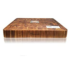 Acacia Wood Serving and Chopping Board Rectangular End Grain Size 50 x 38 cm