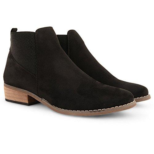Sur Faible Plat Femme Talon Chaussures Noir Cheville Tirez Dolcis Taille Chelsea Mesdames Bloc Bottes P4XqYpWv