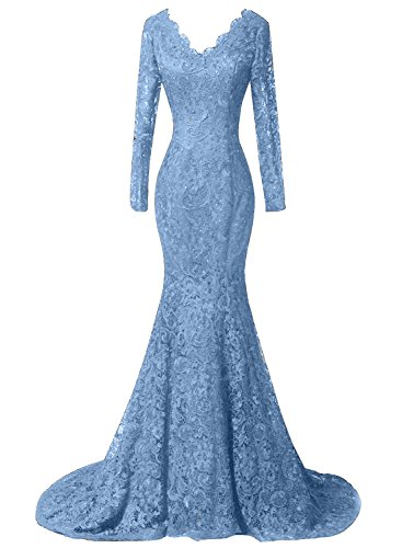 DKBridal Women's Long Sleeves Mermaid Lace Beaded Formal Prom Evening Dresses Party Gowns Blue (Mermaid Lace)
