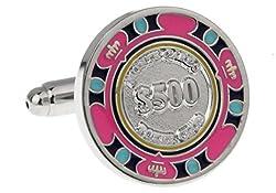 MRCUFF Poker Chip $500 Pair Cufflinks in a Presentation Gift Box & Polishing Cloth