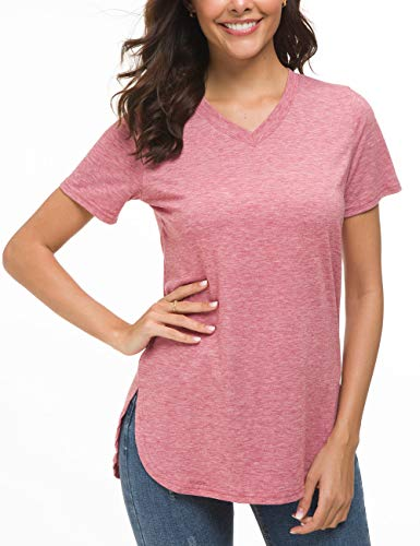 (Herou V-Neck Short Sleeve Red T-Shirt,Casual Tunic for Women Small )