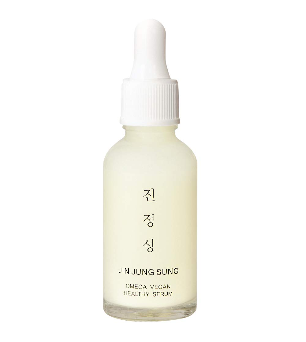 Omega Vegan Healthy Serum by Jin Jung Sung - Cruelty-Free Anti-Aging Hydrating Soothing with Natural Avocado Oil, Blueberry & 7 layered Hyaluronic Acids Korean Skincare Omega 3 Ampoule 1.01 Fl Oz