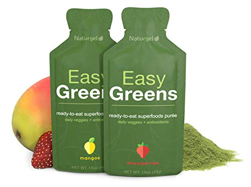 Naturgel Easy Greens, Variety 4-Pack - Amazing Greens Powder Mixed in Fruit Puree - Ready-to-Eat Daily Green Pre-Made Superfood