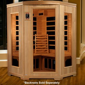 Dynamic 3-person Carbon Tech FAR Infrared Corner Sauna 10 Dynamic Carbon Heating Panels, Interior/exterior LED Control Panel, Fm Radio/cd & Mp3 (3 Person Corner Infrared Sauna)