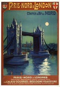 PARÍS ~ LONDRES Vintage Art Deco Cartel De Ferrocarriles ...
