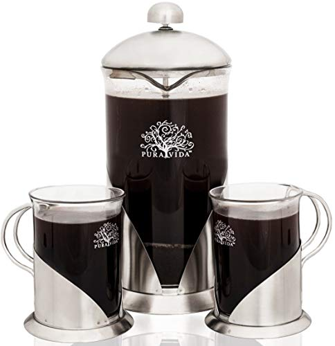 Pura Vida French Press Coffee Maker Set, 34 oz - 4 Level Filtration System - 2 Luxury Mugs - Heat Resistant Borosilicate Glass French Press with Durable 304 Grade Stainless ()