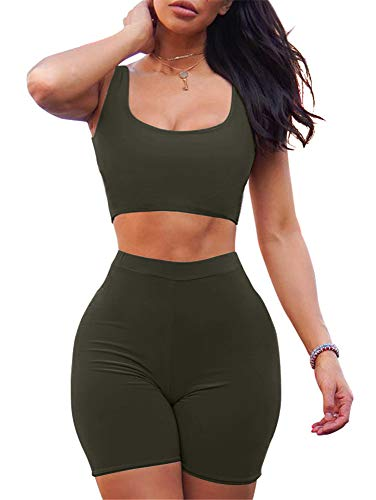 GOBLES Women's Sexy Bodycon Tank Crop Top Shorts Sets Club 2 Piece Outfits Olive (Best Outfits For Short Women)