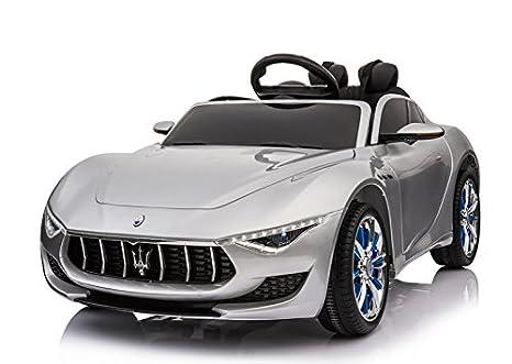 RunRunToys Coche Maserati Alfieri eléctrico 12V para para niños a Partir de 3 años con Volante Multifuncional y Asiento Ajustable Color Plata Herrajes ...