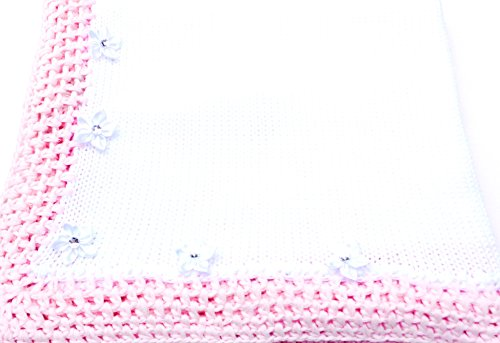 knitted-crochet-finished-white-cotton-pink-trim-blanket-with-rhinestone
