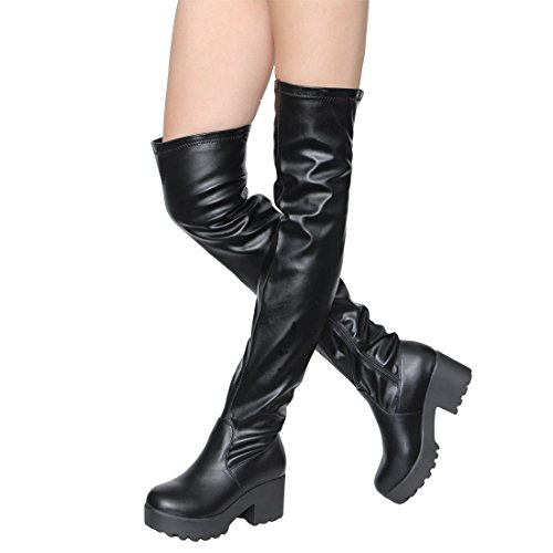High Stretch Knee Boot (ShoBeautiful Womens Over The Knee Platform Boots Sexy Chunky Block Heel Stretch Pull on Thigh High Tall Boots Black 7.5)